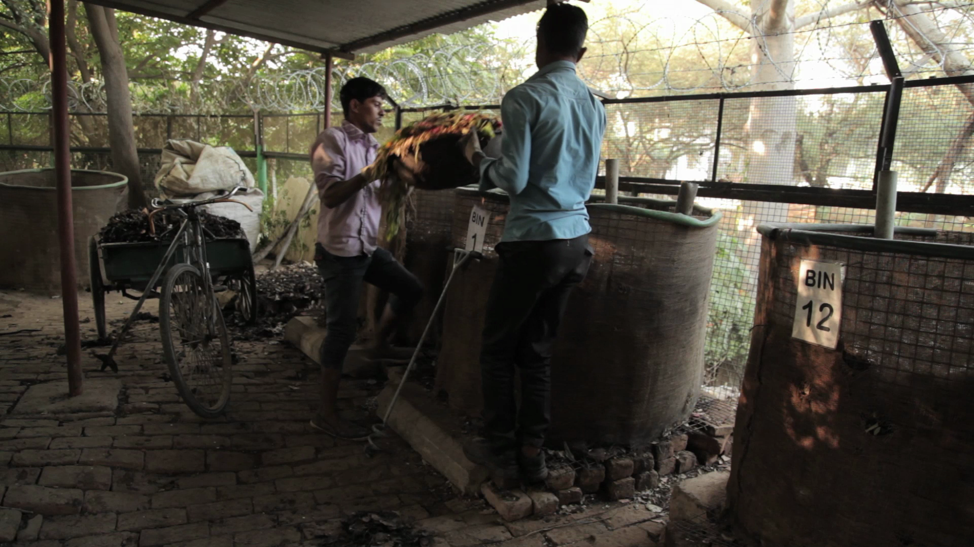 Two housekeeping boys have been trained to carry out the operations at the composting site in 2 hours